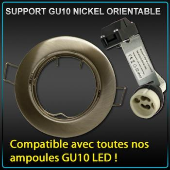 Support de spot GU10 LED rond encastrable nickel brossé avec douille