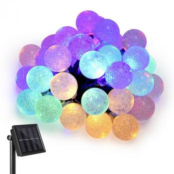 Photo Guirlande Solaire 30 Boules Multicolores