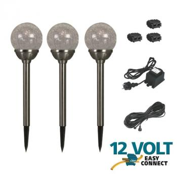 Kit Complet 3 Balises Boules Led ZARA 12v Basse Tension Transfo Easy Connect