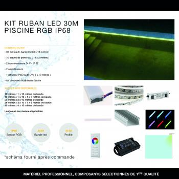 Kit Ruban LED 30 mètres Piscine RGB IP68