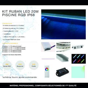 Kit Ruban LED 20 mètres Piscine RGB IP68