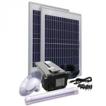 Kit d'Eclairage Solaire 20W 12V Lithium LifePO4 2 Lampes 3 W Chargeur