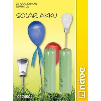 Piles solaires rechargeables Nimh AAA 300Mah 1,2V pack de 2