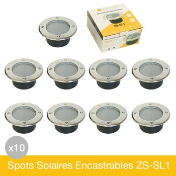 Lot de 10 Spots Solaires Encastrables Inox IP68 ZS-SL1