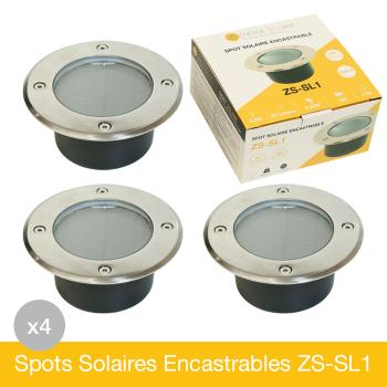 Lot de 4 Spots Solaires Encastrables Inox IP68 ZS-SL1
