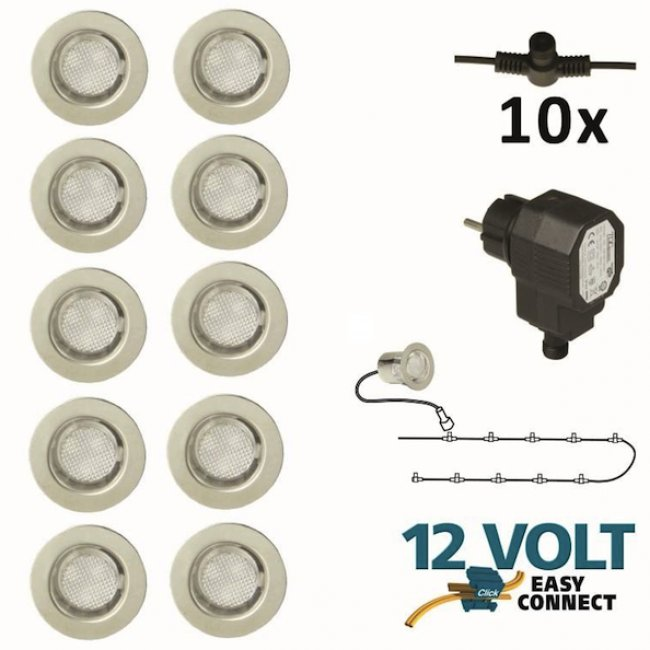 Kit Complet 10 Spots Led Encastrables 12V Easy Connect Calypso Transfo