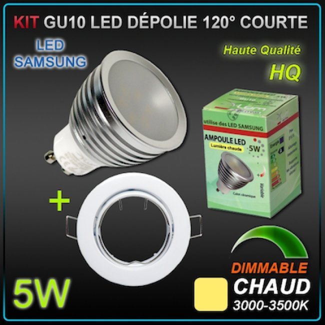 KIT 10 SPOTS LED GU10 Samsung 5W dimmables