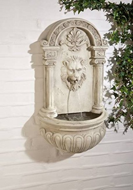 Fontaine Solaire Murale Batterie Led Lion