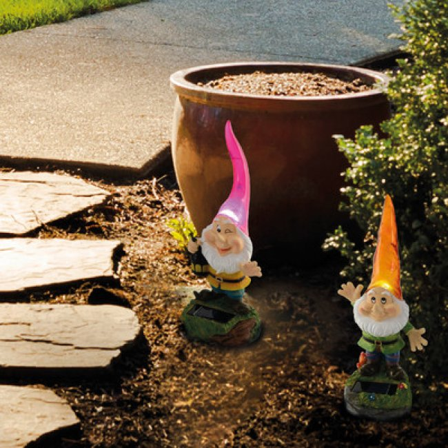 Nain de jardin solaire joyeux Orange- Personnage Lutin solaire ...