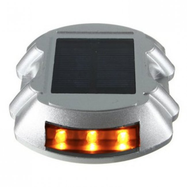 Lot de 2 Pavés de Sol Routiers Clignotants Jaunes IP 68 6 Led ZS-GD04-CJ