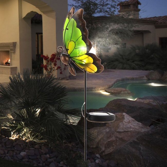 Papillon solaire globe verre sur tige butterfly d coration lampe solaire objetsolaire - Papillon sur tige ...