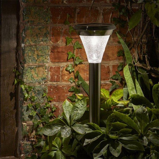 Lampe solaire puissante led inox verre 100 lumens magnum balise borne solaire objetsolaire - Lampe solaire jardin puissante ...