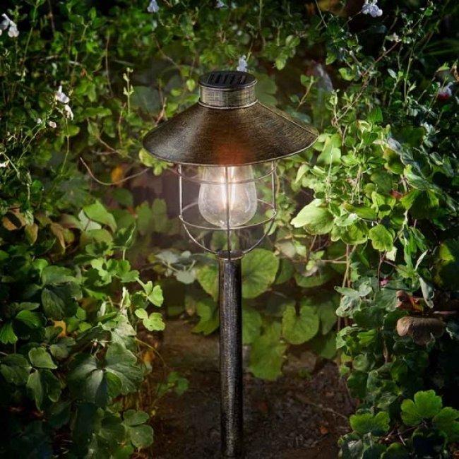 a8fafc93aced24 Lanterne Solaire Métal Tige Ampoule Verre Filament Rétro- décoration ...