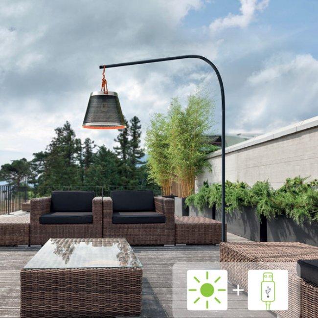 Lampadaire Solaire Puissant de Terrasse sur Pied 200-400 Lumens Filament Usb