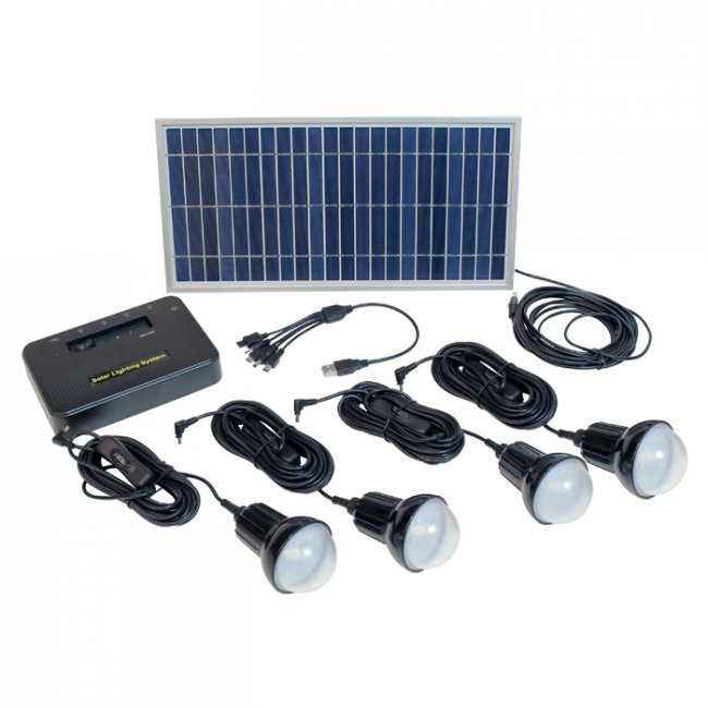 Kit d'Eclairage Solaire Chargeur 8W Lithium 4 Lampes Led 720 Lumens