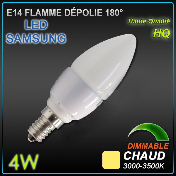 Ampoule LED Samsung E14 Flamme 4w Dimmable 3000°K