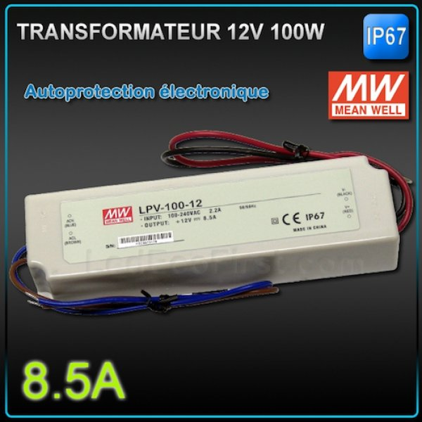 Transformateur Led 12V MEANWELL 100W